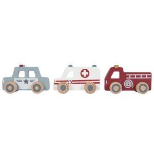 €12.95 Little Dutch houten ambulance, politie en brandweerauto hulpverlenersauto's