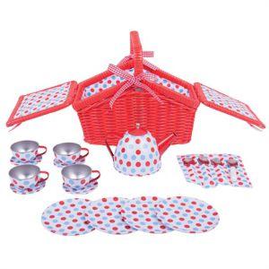 €20,95 Bigjigs blikken servies in picknickmand Spotted Basket Tea Set Bigjigs speelgoed serviesje theeservies theeserviesje