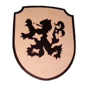 Houten schild draak/leeuw