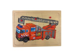 €4.49 Houten puzzel brandweer brandweerwagen brandweerauto