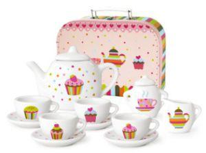Simply for kids cupcake servies porselein serviesje taart in koffer