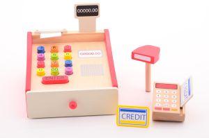 Houten kassa met scanner en pin apparaat Jouéco
