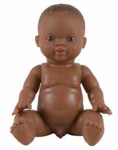 €14.89 Paola Reina bruine pop Gordi Bonifacio donkere jongenspop 34cm babypop minikane