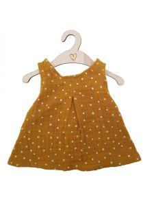 €16.95 Hollie jurk ochre dots (oker met stip) voor gordi pop 34cm paola reina minikane poppenkleding poppenkleren