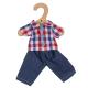 €7,49 Bigjigs geblokte blouse met jeans spijkerbroek (S) Checked Shirt and Jeans poppenkleding poppenkleren
