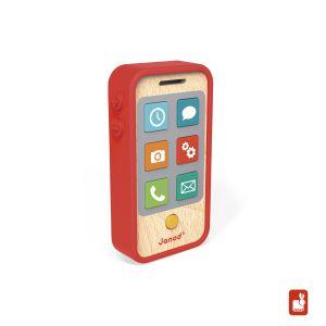 €14,99 Janod mobieltje telefoon mobiel met geluid hout houten