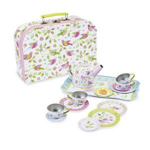 €21,99 Simply for kids blikken tinnen servies serviesje vogeltjes bloemen koffer speelgoed theeservies theeserviesje
