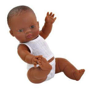 €21.95 Paola Reina pop Gordi donkere jongen met wit ondergoed babypop poppen