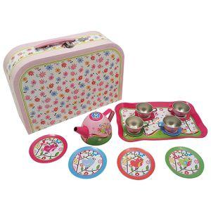 Blikken/tinnen servies, serviesje, vogeltjes in bloemen koffer