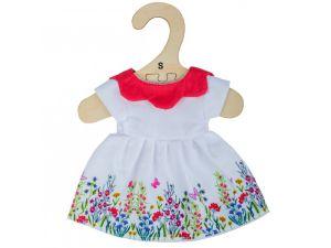 €7,49 Bigjigs jurk met bloemen en rode kraag (S) small poppenkleren poppenkleding
