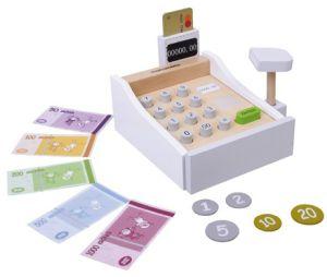 Mamamemo houten kassa met scanner pinpas creditcard munten briefgeld