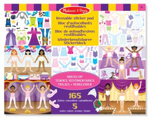€6,89 Melissa & Doug herbruikbaar stickervel paspop sticker stickers reusable raamstickers dress up