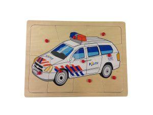 €4.49 Houten puzzel politie politiewagen politieauto