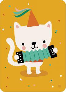 €1.25 Bora ansichtkaart Accordion Cat wenskaart postkaart kaart