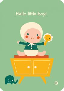 €1,25 Bora ansichtkaart Hello Baby - Little Boy geboortekaart wenskaart postkaart kaart