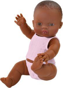 €21.95 Paola Reina pop donker meisje met roze ondergoed babypop donkere poppen