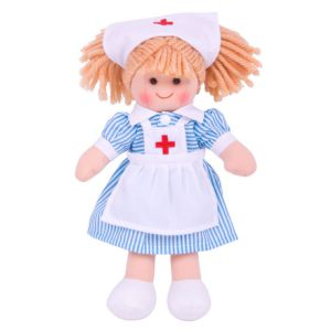 €11.19 Bigjigs stoffen pop stof lappen popje zuster verpleegster Nancy 28 cm Nurse Doll