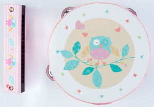 €13,49 Angel muziekset roze uil uiltjes muziekinstrumenten tamboerijn mondharmonica muziek instrument